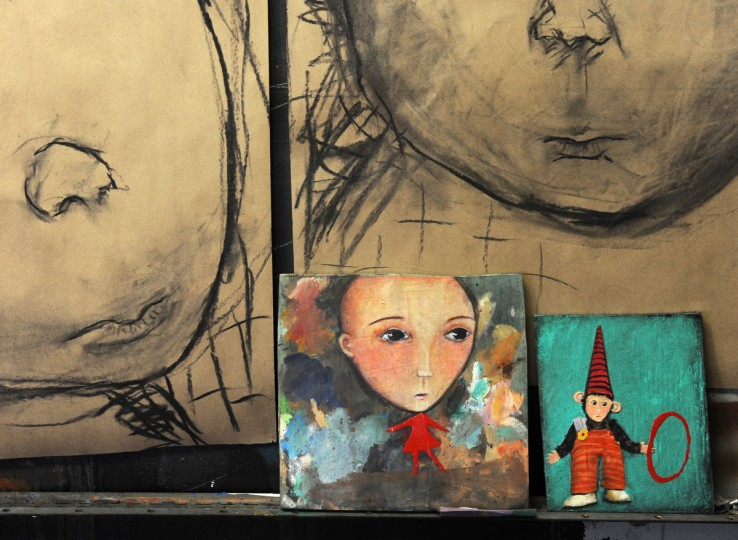 The drawings and paintings are part of the series titled, Childhood Dreams, Memories and Deja Vu, created by artist Lania D'Agostino. The paintings were painted within the past month. (Algerina Perna/Baltimore Sun)