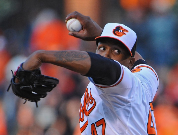 Orioles pitcher Pedro Strop in action in the ninth inning on opening day at Oriole Park at Camden Yards. The Orioles defeated the Twins by score of 9 to 5 to win the home opener. (Kenneth K. Lam/Baltimore Sun)