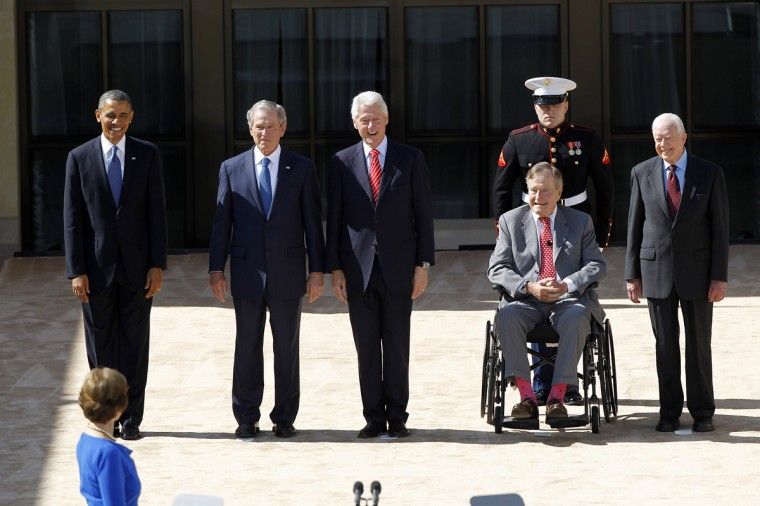 The five living Presidents: (from left) Barack Obama, George W. Bush, Bill Clinton, George H.W. Bush, and Jimmy Carter, are introduced at the George W. Bush Presidential Center dedication in Dallas, Texas, Thursday, April 25, 2013. (Tom Fox/Dallas Morning News/MCT)