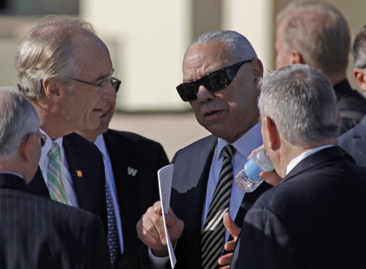 Former cabinet member Colin Powell, center, arrives before the dedication ceremonies for the new George W. Bush Presidential Center in Dallas, Texas, Thursday, April 25, 2013. (Paul Moseley/Fort Worth Star-Telegram/MCT)