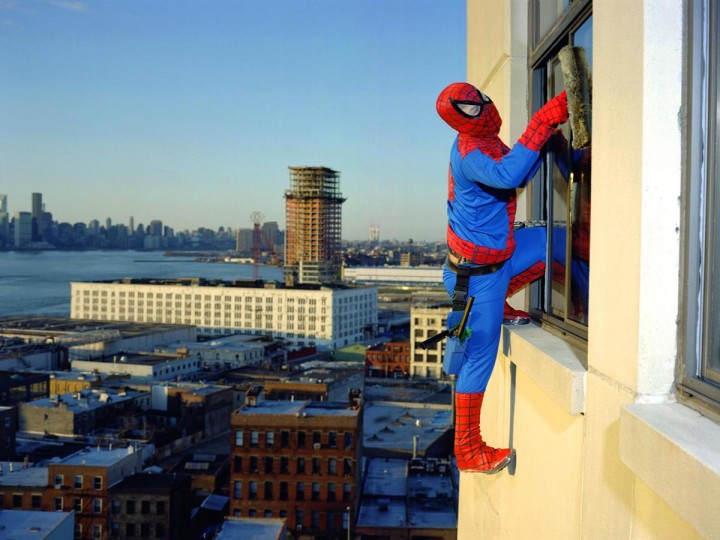 Photograph of a window washer dressed as Spiderman by Dulce Pinzon is part of the Latino/Gotidiano exhibit by from Spain Arts and Culture. (Dulce Pinzon/MCT)