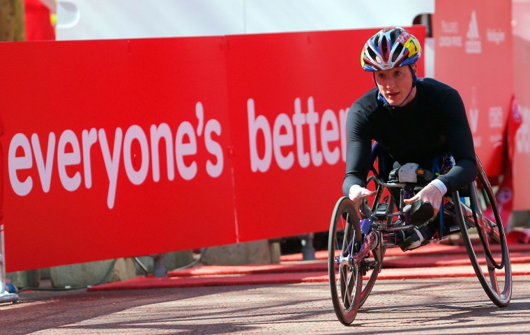 Tatyana McFadden of Clarksville, Maryland wins the women's wheelchair class of the London Marathon. Less than a week earlier, she won the Boston Marathon. (Andrew Winning/Reuters)