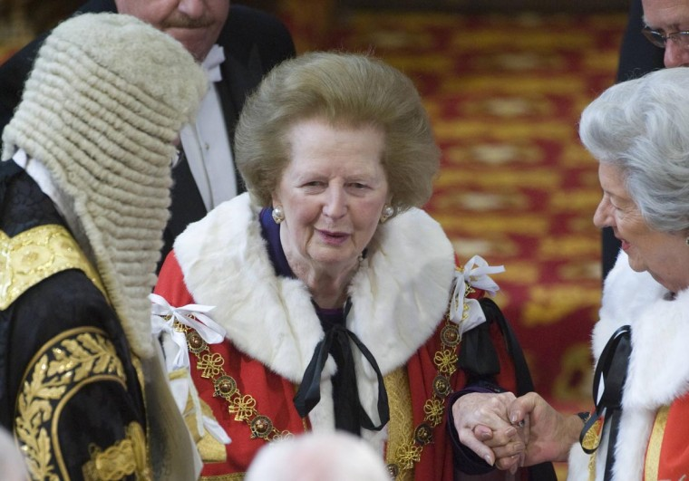 Former British prime minister Margaret Thatcher attends the State Opening of Parliament at the House of Lords in Westminster, London in this May 25, 2010 file photo. (Arthur Edwards/Reuters)