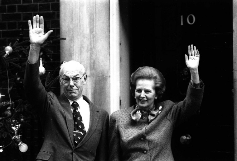 British Prime Minister Margaret Thatcher and husband Denis Thatcher outside her residence at 10 Downing Street, London in this undated file photo. (David Osborn/Reuters Files)