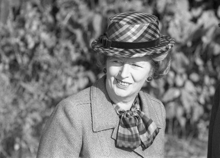 Then Britain's Prime Minister Margaret Thatcher wears a checkered green hat on her 60th birthday as she attends church near her official country residence, Chequers, near Aylesbury, England in this October 13, 1985 file photo. (Brian Smith/Reuters Files)