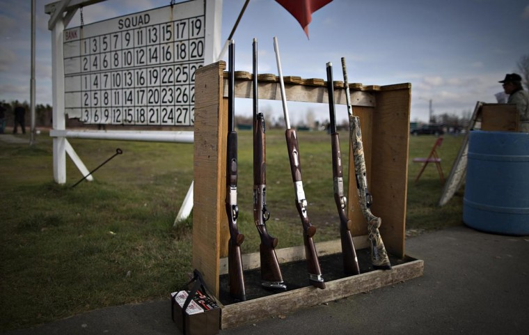 Shotguns sit in a rack on the shooting range of the Vancouver Gun Club in Richmond, British Columbia February 10, 2013. (Andy Clark/Reuters)
