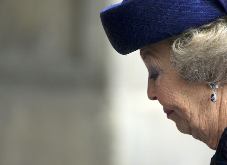 Princess Beatrix of Netherlands leaves the Nieuwe Kerk church in Amsterdam after the religious crowning ceremony on April 30, 2013. (Jasper Juinen/Pool/Reuters)