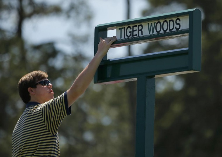 Tiger Woods' name is placed in the starters box on the first tee during third round play in the 2013 Masters golf tournament at the Augusta National Golf Club in Augusta, Georgia, April 13, 2013. (Brian Snyder/Reuters)