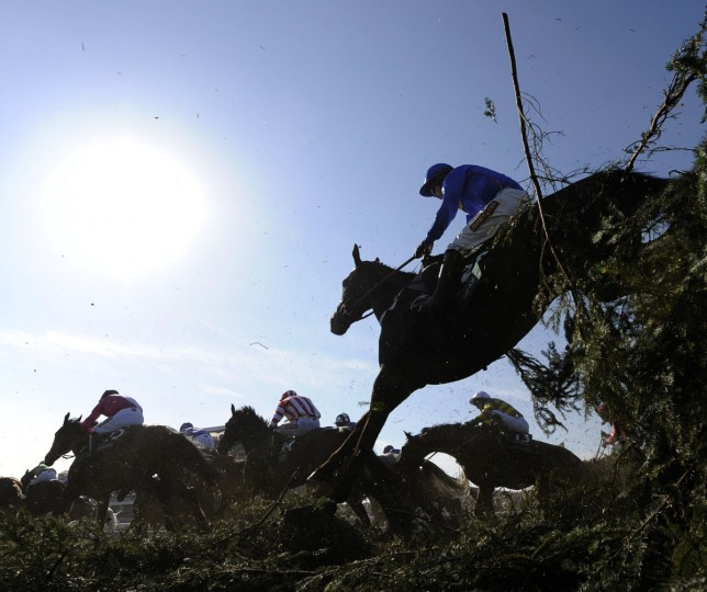 Runners and riders jump the Chair during the Grand National Steeplechase at Aintree, northern England April 6, 2013. (Russell Cheyne/Reuters)