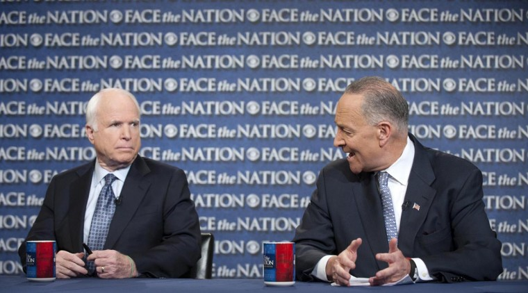 "Senator John McCain (R-AZ) (L), and Senator Chuck Schumer (D-NY) appear on ""Face the Nation"" in this April 7, 2013 handout photo. Both men said on the show that China has failed to use its influence to stop North Korea's warlike rhetoric against the United States and U.S.-backed South Korea. (CBS News/Chris Usher/CBS News via Reuters)"