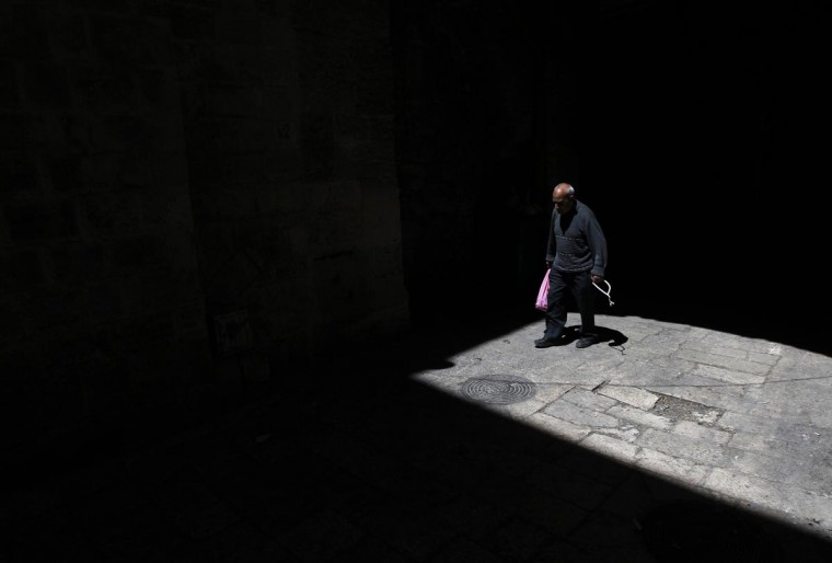 A man enters the compound known to Muslims as al-Haram al-Sharif and to Jews as Temple Mount in Jerusalem's Old City April 3, 2013. (Baz Ratner/Reuters)