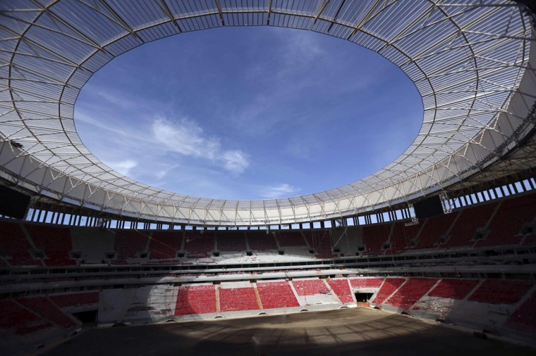 A general view of National Mane Garrincha Stadium undergoing construction in Brasilia April, 28, 2013. The stadium will be one of the venues for the 2013 Confederations Cup and the 2014 World Cup. (Ueslei Marcelino/Reuters)