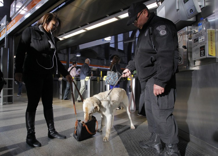 """Miller, a Transit Police dog with the Massachusetts Transportation Authority Explosives Detection Unit, sniffs a bag at Back Bay Station as commuters enter the subway system a day after two explosions near the finish line of the Boston Marathon in Boston, Massachusetts April 16, 2013. Two bombs packed with ball bearings tore through crowds near the finish line of the Boston Marathon on Monday, killing three people and triggering a massive hunt for those behind an attack the White House said would be treated as """"an act of terror."""" (Jessica Rinaldi/Reuters photo)"""