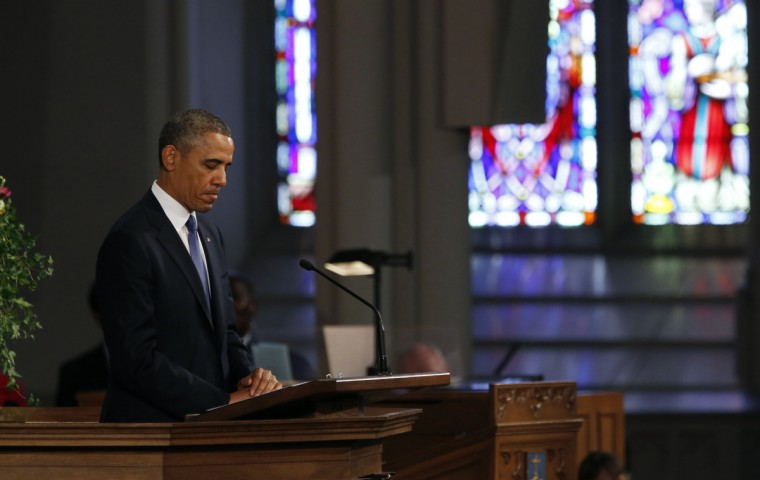 U.S. President Obama speaks during an interfaith memorial service at the Cathedral of the Holy Cross for the victims of the Boston Marathon bombing, in Boston