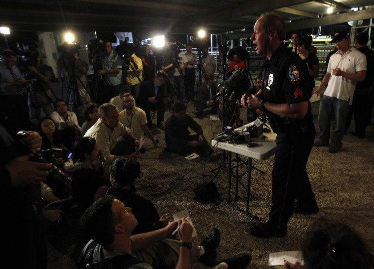 Waco Police spokesperson William Swanton speaks at a media conference regarding an explosion at a fertilizer plant in the town of West, near Waco, Texas early April 18, 2013. (Mike Stone/Reuters)