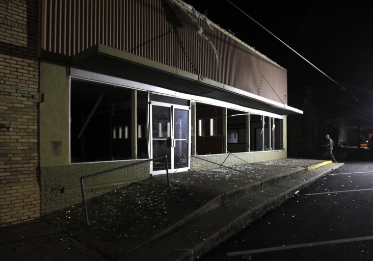 A building shows the damage after a massive explosion at a fertilizer plant in the town of West, near Waco, Texas early April 18, 2013. (Mike Stone/Reuters)