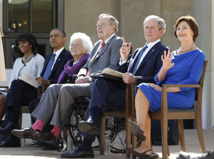 Former U.S. president George W. Bush and former first lady Laura Bush are pictured on stage alongside (L-R) First Lady Michelle Obama, President Barack Obama, former first lady Barbara Bush and former president George H.W. Bush as they attend the dedication ceremony for the George W. Bush Presidential Center in Dallas. (Jason Reed/Reuters)