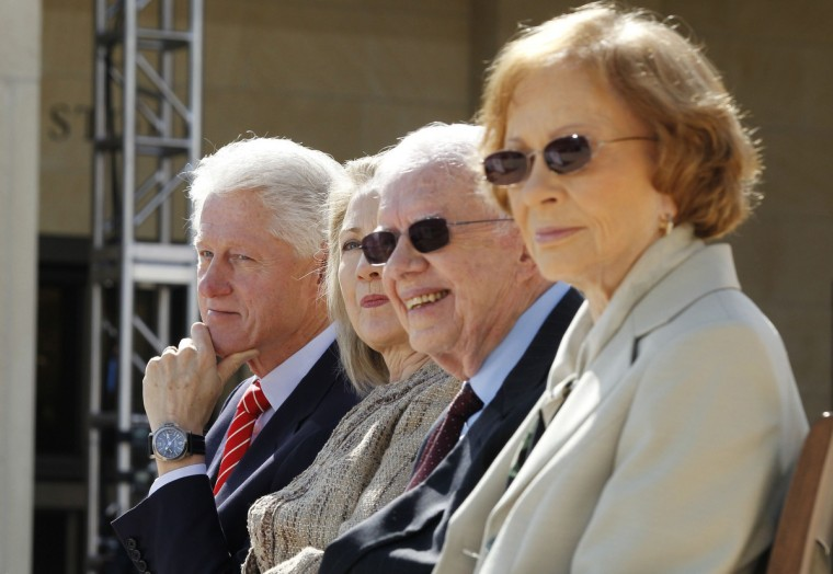 Former U.S. presidents Bill Clinton (L) and Jimmy Carter (2nd R) are pictured with former first ladies Hillary Clinton (2nd L) and Rosalynn Carter during the dedication ceremony for the George W. Bush Presidential Center in Dallas. (Jason Reed/Reuters)