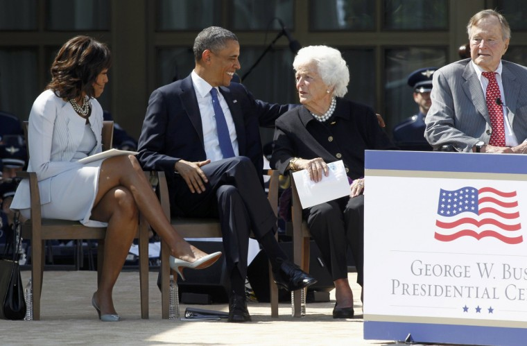 U.S. President Barack Obama (2ndL) laughs with former first lady Barbara Bush (2ndR), as he sits with first lady Michelle Obama and former U.S. President George H.W. Bush (R) at the dedication of the George W. Bush Presidential Center on the campus of Southern Methodist University in Dallas, Texas. (Mike Stone/Reuters)