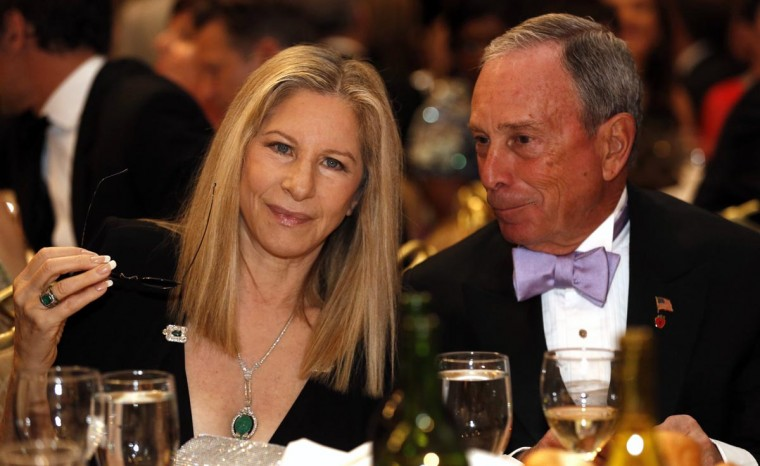 Actress and singer Barbra Streisand talks to New York Mayor Michael Bloomberg (R) at the White House Correspondents Association Dinner in Washington April 27, 2013. (Kevin Lamarque/Reuters)