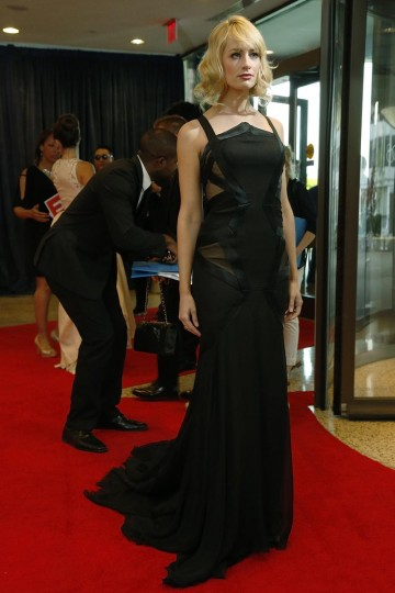 Actress Beth Behrs arrives on the red carpet at the annual White House Correspondents' Association dinner in Washington April 27, 2013. (Jonathan Ernst/Reuters)