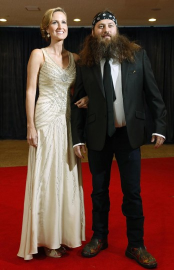 Willie Robertson (R) and his wife Korie of reality TV series Duck Dynasty arrive on the red carpet at the annual White House Correspondents' Association dinner in Washington April 27, 2013. (Jonathan Ernst/Reuters)
