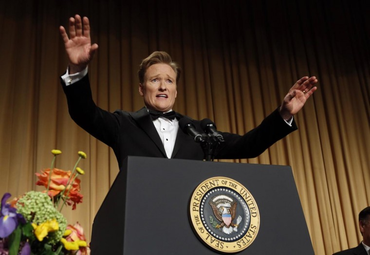 Comedian Conan O'Brien speaks during the White House Correspondents Association Dinner in Washington April 27, 2013. (Kevin Lamarque/Reuters)