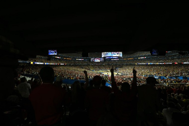 Overall view of Louisville Cardinals and Michigan Wolverines during the second half of the championship game in the 2013 NCAA mens Final Four at the Georgia Dome. (Daniel Shirey/USA TODAY Sports)