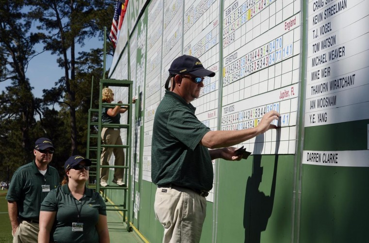 Course worker Phillip Hodges of Augusta changes the score of Tiger Woods (not pictured) prior to the third round of the 2013 The Masters golf tournament at Augusta National Golf Club. Woods was assessed a two-stroke penalty for an incorrect drop on the 15th hole in the second round. (Michael Madrid/USA TODAY Sports)