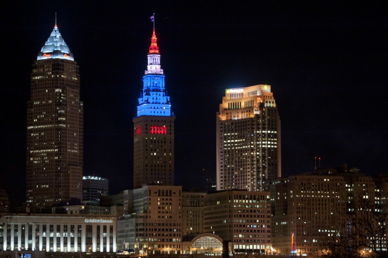 Cleveland, OH, USA; The Terminal Tower in Cleveland was lit red, white and blue during a game between the Cleveland Cavaliers and the Miami Heat at Quicken Loans Arena to show support after the explosions at the Boston Marathon earlier in the day. Mandatory (David Richard/USA TODAY Sports)