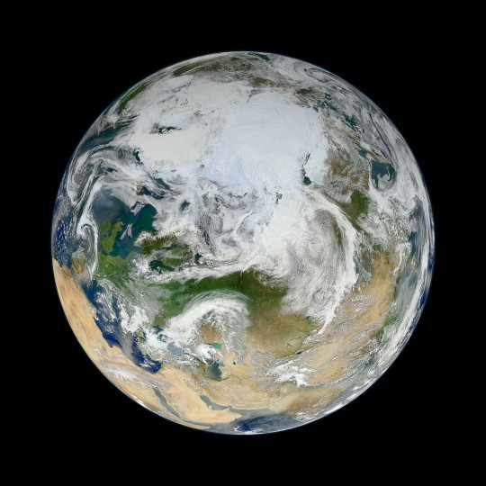 """There have been many images of the full disc of Earth from space - a view often referred to as """"the Blue Marble"""" - but few have looked quite like this. Using natural-color images from the Visible/Infrared Imaging Radiometer Suite (VIIRS) on the recently launched Suomi-NPP satellite, a NASA scientist has compiled a new view showing the Arctic and high latitudes. NASA image"""