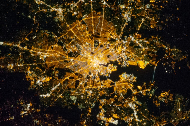 Baltimore is located along the mid-Atlantic coastline of the United States, at the terminus of the Patapsco River into Chesapeake Bay. It is the largest seaport along this part of the coast, and the subject of this astronaut photograph from the International Space Station. Like many large U.S. metropolitan areas, the most brightly lit areas correspond to the highest density of buildings and typically indicates the urban core - including, in this case, the Inner Harbor tourist and commercial area. NASA photo