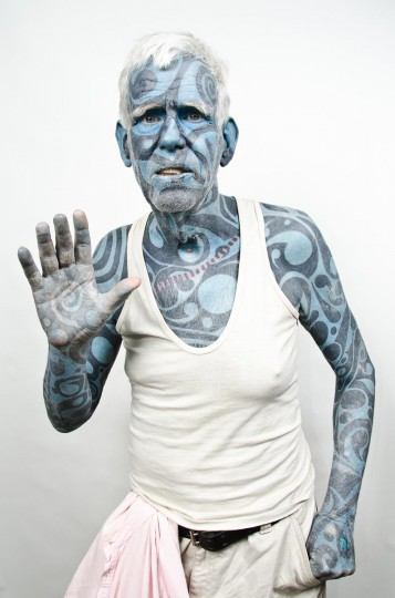 Jim Hall, 71, of Baltimore, MD. Hall says he is the second most tattooed man in the world. Taken at the 2013 Baltimore Tattoo Arts Convention in the Inner Harbor. (Josh Sisk/Special To The Baltimore Sun)