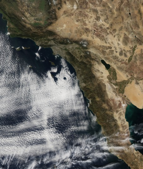 On February 17, 2013, the Moderate Resolution Imaging Spectroradiometer (MODIS) on NASA's Aqua satellite captured this natural-color image of an atmospheric eddy off the coast of Southern California. The swirling, circular pattern in the clouds was due west of San Diego when Terra flew over around local noon. The pattern is known to meteorologists as a Catalina eddy, or coastal eddy, and it forms as upper-level flows interact with the rugged coastline and islands off of Southern California. The interaction of high-pressure - bringing offshore winds blowing out of the north - and low-pressure driving coastal winds blowing out of the south combine with the topography to give the marine stratus clouds a cyclonic, counter-clockwise spin. The eddy is named for Santa Catalina Island, one of the Channel Islands offshore between Los Angeles and San Diego. NASA image