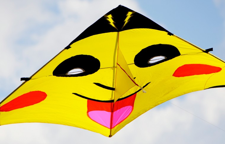 Many kites were themed after action heros, cartoons and other pop culture figures like this Pokemon kite. (Jon Sham/Baltimore Sun Media Group