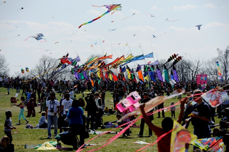Thousands of people came to the National Mall in Washington, D.C. on Saturday, March 30 for the Blossom Kite Festival (Jon Sham/Baltimore Sun Media Group)