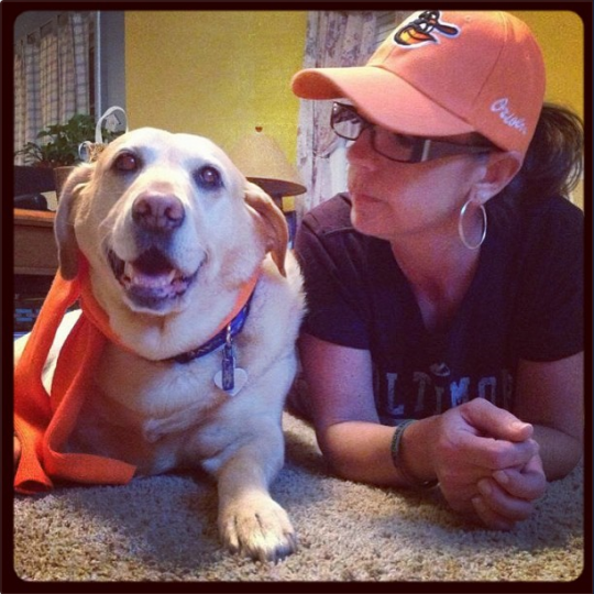 Yellow lab and its owner, Tami Levin, decked in Orioles orange