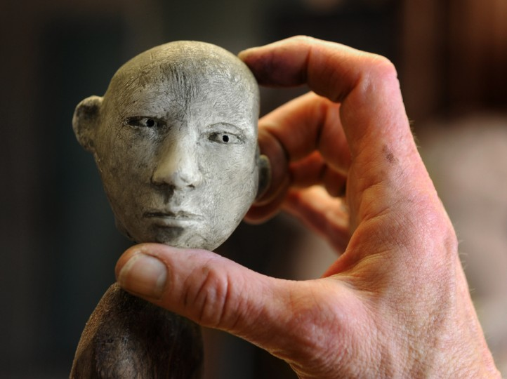 Lania D'Agostino carved this head from plaster. The figure addresses the subject of aging. (Algerina Perna/Baltimore Sun)