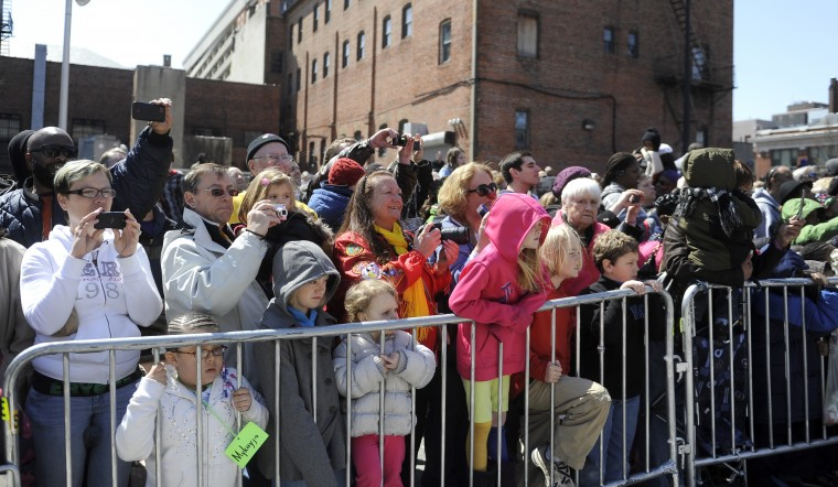 "A large crowd gathered to watch the 30th annual ""elephant brunch"" outside Lexington Market. (Barbara Haddock Taylor/Baltimore Sun)"