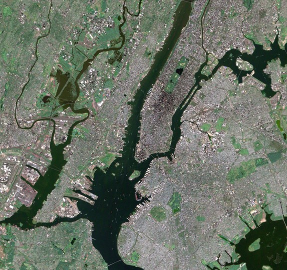 The southern end of Manhattan, as well as Ellis Island, New Jersey, and Queens are visible in this image from a perfectly clear day in September, 2002. USGS EROS Data Center