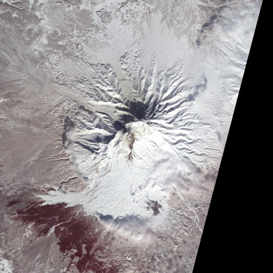 Snow, ash, and debris cover Shiveluch Volcano in these false-color (near infrared, red, and green) satellite images. The images show changes on Shiveluch over a two week period. On March 2, 2013 (top image), ash was spread over a large area, carried by shifting winds. Debris from Shiveluch's lava dome was funneled south by a narrow couloir, traveling as much as 14 kilometers (8.7 miles). By March 18 late winter snow had obscured the ash, but fresh debris darkened the slopes directly south of the dome. Credit, NASA Earth Observatory image by Jesse Allen and Robert Simmon