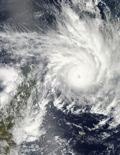 Felleng formed as a tropical storm over the southern Indian Ocean on January 26, 2013, and strengthened into a cyclone on January 29. That day, the U.S. Navy's Joint Typhoon Warning Center (JTWC) reported that Felleng was located roughly 420 nautical miles (780 kilometers) north of RŽunion Island. The storm had maximum sustained winds of 90 knots (170 kilometers per hour), with gusts up to 110 knots (205 kilometers per hour). Over the next 36 hours, wind speeds were forecast to increase to 115 knots (215 kilometers per hour) with gusts up to 140 knots (260 kilometers per hour). NASA image