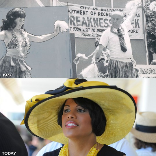 MAYORAL APPEAL: TOP - Mayor William Donald Schaefer made his debut as a hula dancer during a program staged by the Mayor's Office of Special Projects to mark Preakness Week in 1977. (Baltimore Sun) *** BOTTOM - Mayor Stephanie Rawlings-Blake attends the 137th Preakness Stakes. (Lloyd Fox/Baltimore Sun)