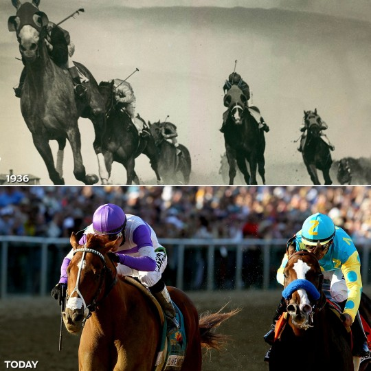 TAKING THE LEAD: TOP - Crossing the finish line in 1936. (A. Aubrey Bodine/Baltimore Sun) *** BOTTOM - I'll Have Another, ridden by Mario Gutierrez, crosses the finish line ahead of Boedmeister, ridden by Mike Smith, to win the 137th Preakness Stakes. (Matthew Stockman/Getty Images)