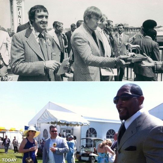 FOOTBALL STARS: TOP - Johnny Unitas, accompanied by television star Jim Nabors, head to the Pimlico winner's circle to present the trophy to winner of John Unitas Purse in 1973. (Baltimore Sun) *** BOTTOM - Baltimore Ravens linebacker Ray Lewis attends the 137th Preakness Stakes. (Jill Rosen/Baltimore Sun)