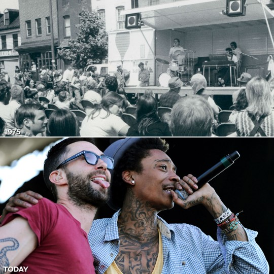 THE BANDS: TOP - The Red Hubbe''s band plays to a Preakness crowd gathered in Fells Point in 1975. (Baltimore Sun) *** BOTTOM - Performing artist Wiz Khalifa (R) sings a song with Maroon 5's Adam Levine prior to the 137th running of the Preakness Stakes. (Patrick Smith/Getty Images)