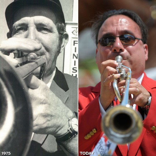 BUGLERS: LEFT - Larry Popoli Sounds the bugle, at Pimlico in 1975. (Carl D. Harris/Baltimore Sun) *** RIGHT - Sam Grossman blows his bugle at Pimlico prior to the 6th race of the 135th Preakness Stakes. (Gene Sweeney Jr./Baltimore Sun)