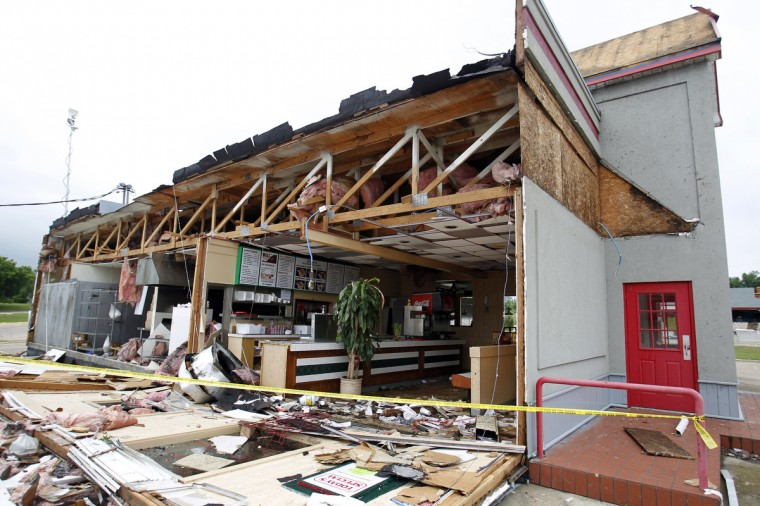 A wall fell off of then Wall Express Chinese Cafe in Ennis, Texas, Thursday, May 16, 2013. A storm passed through Ennis and damaged many areas along Ennis Avenue. (Vernon Bryant/Dallas Morning News/MCT)