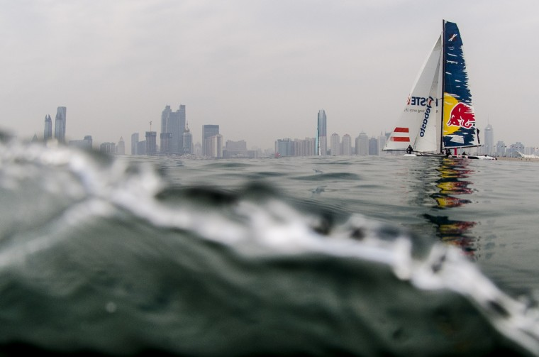 Red Bull team in action during day one of the Extreme Sailing Series on May 2, 2013 in Qingdao, China. (Xaume Olleros/Getty Images)