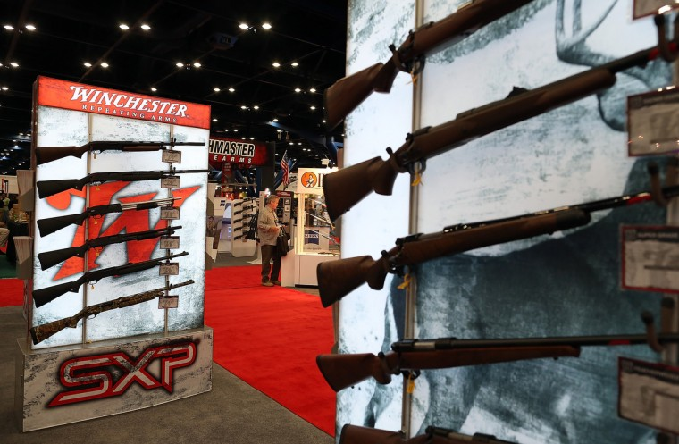 Shotguns are displayed during the 2013 NRA Annual Meeting and Exhibits at the George R. Brown Convention Center on May 3, 2013 in Houston, Texas. (Justin Sullivan/Getty Images)
